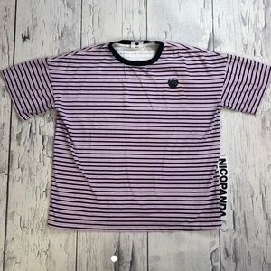NicoPanda striped t shirt Large fit purple